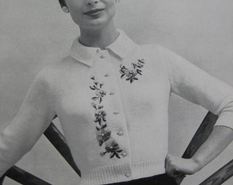 Knit Sweater Pattern - Vintage 1960's Cardigan Sweater PDF Pattern 733-6