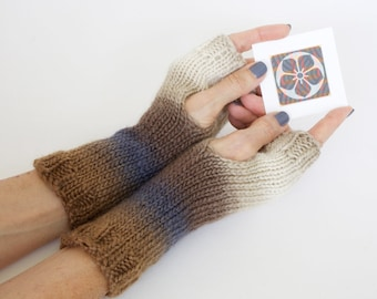 Knit fingerless gloves, ombre gloves, wool and silk gloves, hand warmers, hand knit wrist warmers, knit gloves, gauntlets, charity donation