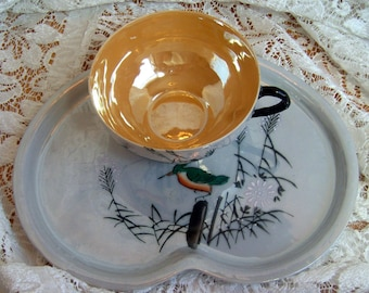 Vintage Lusterware Luncheon Set  - Plate and Cup - Made in Japan - Birds - Handpainted