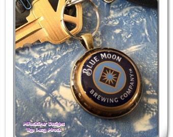 Blue moon upcycled keychain
