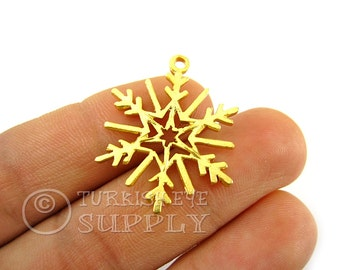 2 Pc Snowflake Pendant, Gold Snowflake Charms, 22K Gold Plated Snowflake Findings, Turkish Jewelry