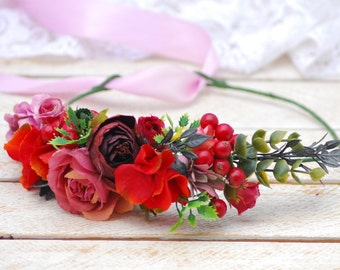 Orange pink flower crown Flower halo Boho floral crown Bridal floral crown Bridal floral headpiece Hair flower wreath Floral headpiece