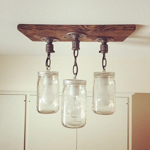 cottage mason jar chandelier. Rustic Industrial Modern Handmade Mason Jar Chandelier/Rustic Lighting/3 Jars/Island Lighting/Pendant Light/Farm Light/Cottage/Fixture Cottage Chandelier