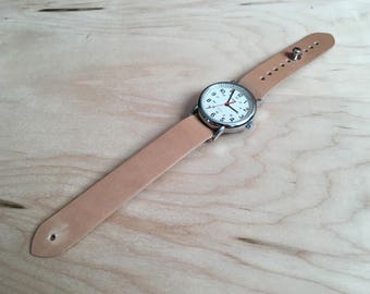 Shell Cordovan Natural color Pass Through watch strap , Timex Weekender 16mm 18mm 20mm 22mm 24mm, button stud
