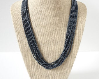Gun metal necklace,slate necklace, dark silver necklace, gunmetal necklace, beaded necklace, seed bead jewerly, charcoal necklace