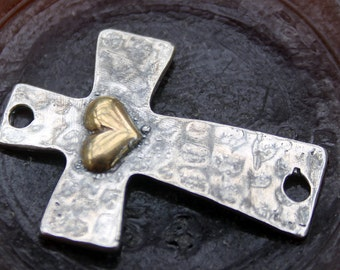 Cross Sterling Silver Link Large Gold Heart Two Tone