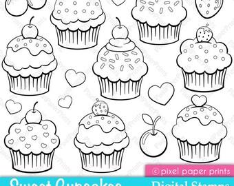Cupcake stamps - Digital Stamps set