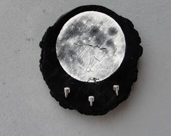 Full Moon Jewelry Storage Organizer Rack, Towel Holder, Coat Rack Driftwood, Metal Astronomy Home Decor