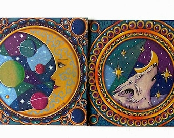 Moon and postcards White Wolf - White Wolf and moon double cards - set of two original postcards White Wolf and moon