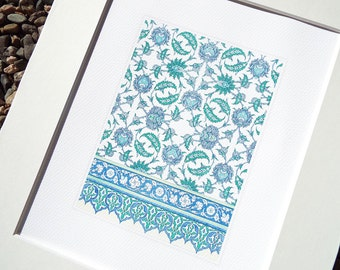 Moorish Tile Pattern 3 in Soft Blue Chambray, Pale Green & Cream Archival Quality Print