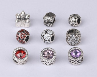 1pc Thai Silver Big Hole Charm Spacer Bead, Sterling Silver Europe Bead (CY083)