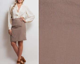 Silk skirt- Vintage PENCIL skirt 90s TAUPE knee length high waist minimal SILK work attire slinky soft high waisted skirt
