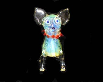 Hand blown glass chihuahua pipe.