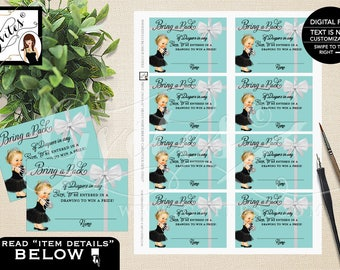 """Diaper Raffle Baby Shower Inserts, Baby and Co Baby Shower Party Printables, DIY, Digital File ONLY! 3.5x2.5"""" 8/Sheet."""