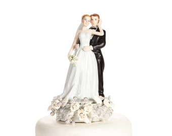 Rose and Pearls Bride and Groom Cake Topper (Silver or Gold) - Custom Painted Hair Color Available - 101123C