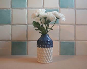 Handmade Blue and White Carved Ceramic Vase