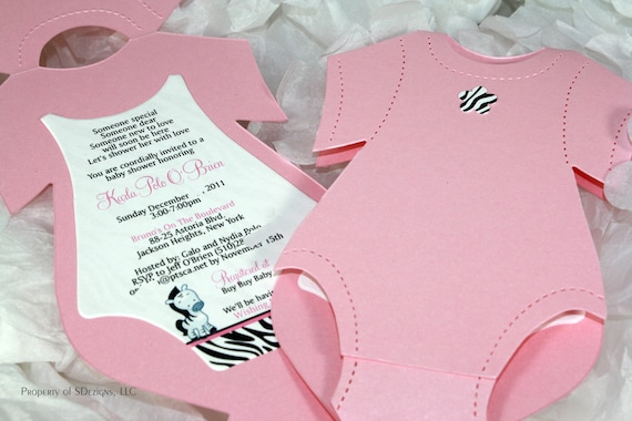 Onesie baby shower invitation baby announcement zebra design like this item filmwisefo Choice Image