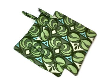 Handmade Quilted Pot Holders Joel Dewberry Set of 2 Green Potholders