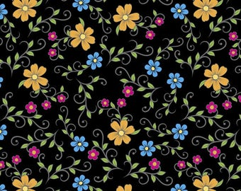 Folk Skulls Floral cotton fabric by the yard/David Textiles/Free shipping available/rose fabric/stripe fabric