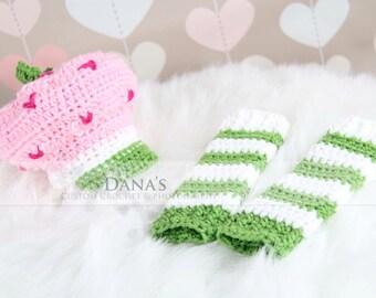 Newborn Strawberry Shortcake Set - Photo Prop - Crochet - Handmade - Photography Prop - Kids - Children - Gift