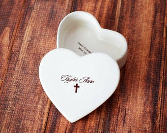 Personalized Baptism Gift, First Communion Gift or Confirmation Gift - Heart Keepsake Box - With Script Font and Gift Box