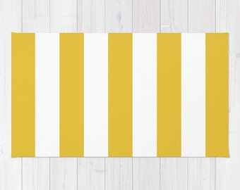 Stripes Area Rug - Yellow and White Stripes Rug - Printed Rug - Modern Home Decor - Aldari Home