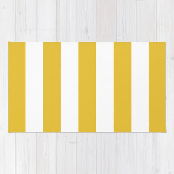 Stripes Area Rug Yellow And White Stripes Rug Printed Rug
