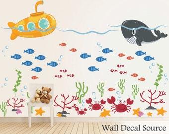 Under The Sea - Submarine Wall Decal - Ocean Decals - Whale Decals - Submarine Decals - Fish Decals - Crab Decals - Under the Sea Decals