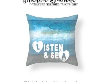 Crashing Wave Photo Pillow, Ocean Waves Toss Pillow, Sea Shore Typography Pillow Case, Blue Surf Throw Pillow, Summer Vacation Cushion Cover