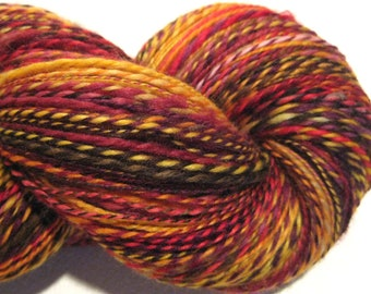 Handspun yarn, If My Words Did Glow DK weight 412 yards red orange yellow yarn 2 ply Superwash BFL wool, Nylon, sock yarn, knitting supplies
