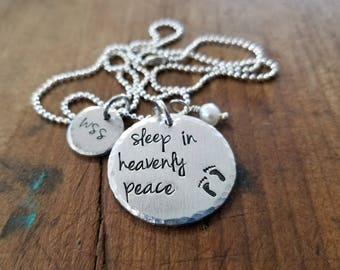 Metal Stamped Personalized Necklace Remembrance Child Loss Miscarriage Footprints Sleep In Heavenly Peace Mothers Day Christmas Angel Baby