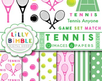 Tennis Clipart, pink raquet, tennis anyone, digital scrapbook paper, pink and green, balls, court, instand download, girls