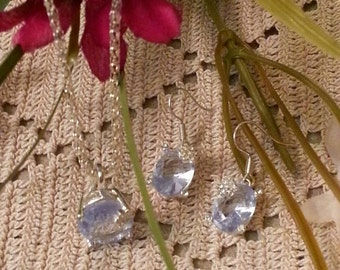 Vintage Pastel Blue Pendant and Matching Earrings With Rhinestone Accents