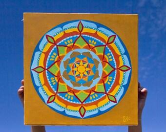 Mandala Sunshine Original oil and acrylic painting