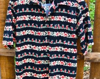 Pierre Cardin Vintage Hawaiian Mens Shirt Size Medium