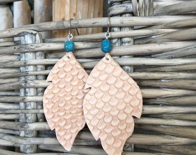 Featured listing image: Leather Earrings - Python Print Light Brown Leather Leaf with Blue Sky Jasper - Southwestern Style, Boho Earrings Dangle Statement Earrings
