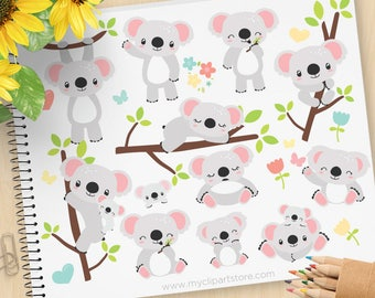 Koala Bären Clipart, australische Bär, niedliche kleine Koala, Waldtiere, Frühling Blumen, kommerzielle Nutzung, Vektor ClipArt, SVG-Dateien schneiden