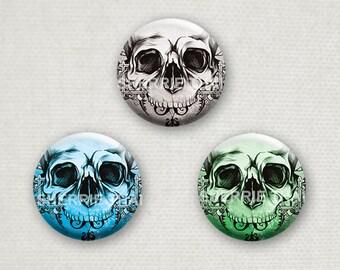 Skulls Pinback Buttons, Original Design Art, 1.25 inch, Set of 3