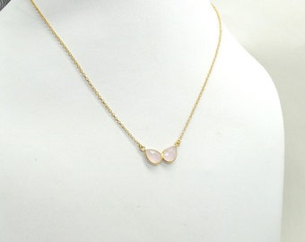 Delicate Rose Quartz necklace, 925 Sterling Silver Necklace ,Rose Necklace, Necklace Bridesmaids, Dainty Gold Necklace