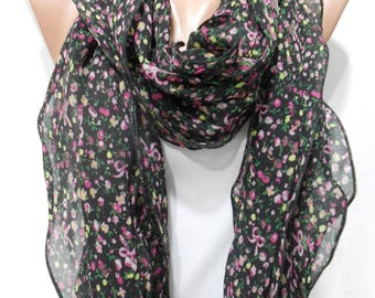 Mothers Day Gift For Her Floral Scarf Chiffon Scarf Ruffle Scarf Black Scarf    Fashion Accessories Gift For Mom Holiday clothing gift