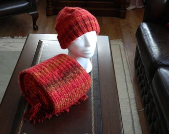 Cinnabar hand knit hat and scarf