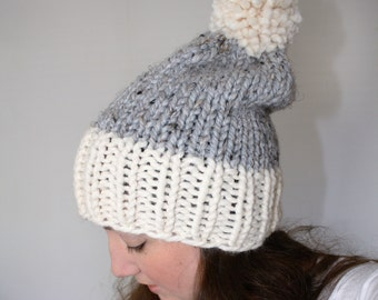 Knit Pom Pom Hat, Chunky Knit Hat, Slouchy Knit Hat, Knitted Hat, Knit Winter Hat, Grey Marble Fisherman - Fairfield Hat
