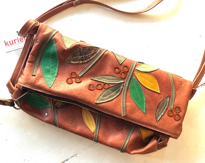 One of a kind leaf and vine quilted leather handbag