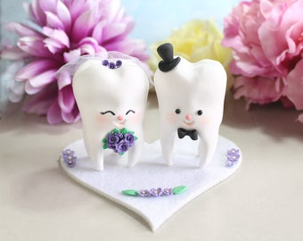 Molar Teeth wedding cake toppers bride and groom - dentist dental hygienist odontologist oral surgeon funny cute figurines purple burgundy