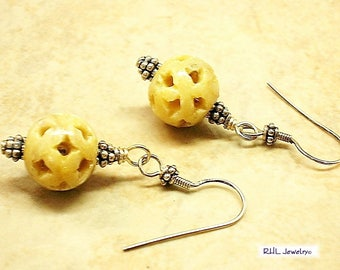 Soapstone Jewelry, Round Earrings, Carved Soapstone Earrings, All Occasion Gifts - E808-05