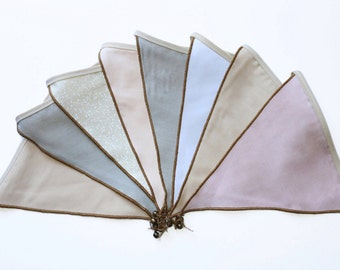 Fabric bunting flags for room, nursery and party decor.Bunting flags with bells
