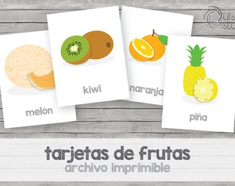 Printable kid's fruit flashcards, spanish