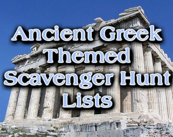 Ancient Greek Themed Scavenger Hunt List Collection