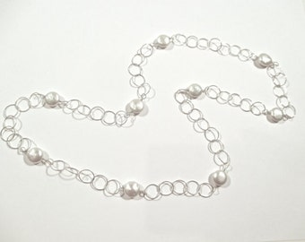 Freshwater Pearl Coins and Sterling Silver Links Chain Necklace