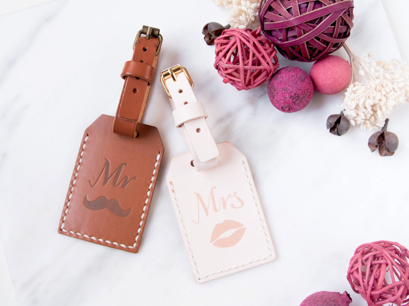 Mr and Mrs Custom Leather Luggage Tag Personalized Luggage tag